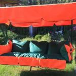 Изготовление тента и подушек для садовых качелей